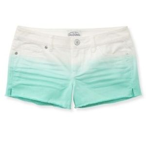 EUC Aero White-Sea Green Ombre Denim Shorts